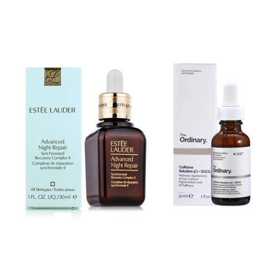 Estee Lauder Night Repair + Ordinary Cafferine Solution 5% Reduces Apperance of Eye Contour